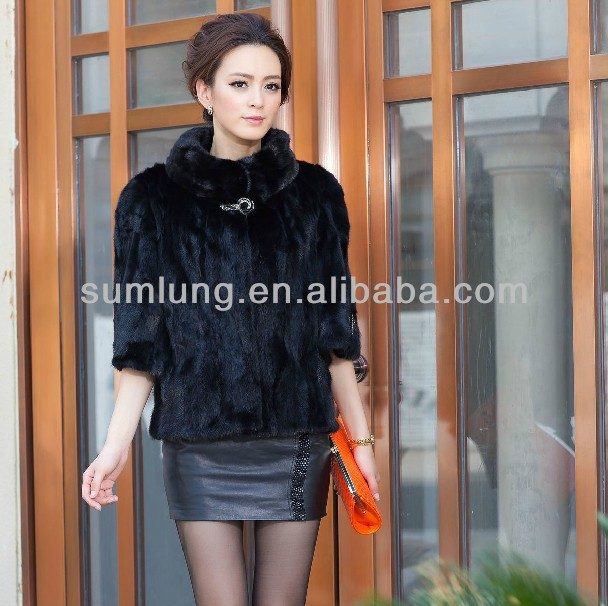 "Newest Short Mink Fur Coats Women Korea Winter Fashion Model Coats 2013 with Stand Collar ""11"""