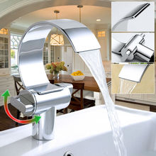 Single hole with dual handles polished waterfall promise faucets made china MLFALLS
