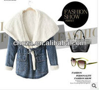 C50795S WINTER UNIQUE DESIGN FASHION LAMB FUR COLLAR WOMAN'S COATS