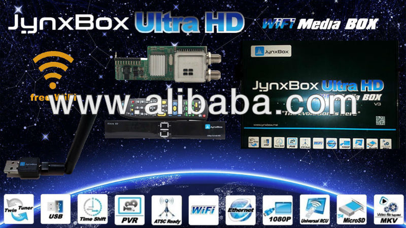 Jynxbox Ultra HD v3 WiFi Satellite Receiver & Media Player with JB200