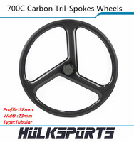 3 spokes tubular carbon wheelset 700c Carbon Tri spoke wheels of 23mm width for road bicycle or fix gear cycling
