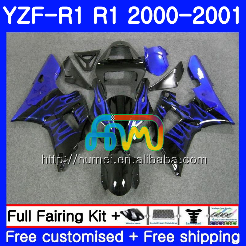 Body For YAMAHA YZF R 1 blue flames YZF 1000 YZF-<strong>R1</strong> <strong>00</strong>-<strong>01</strong> Bodywork 98HM18 YZF1000 YZF-1000 YZF <strong>R1</strong> <strong>00</strong> <strong>01</strong> YZFR1 2000 2001 Fairing