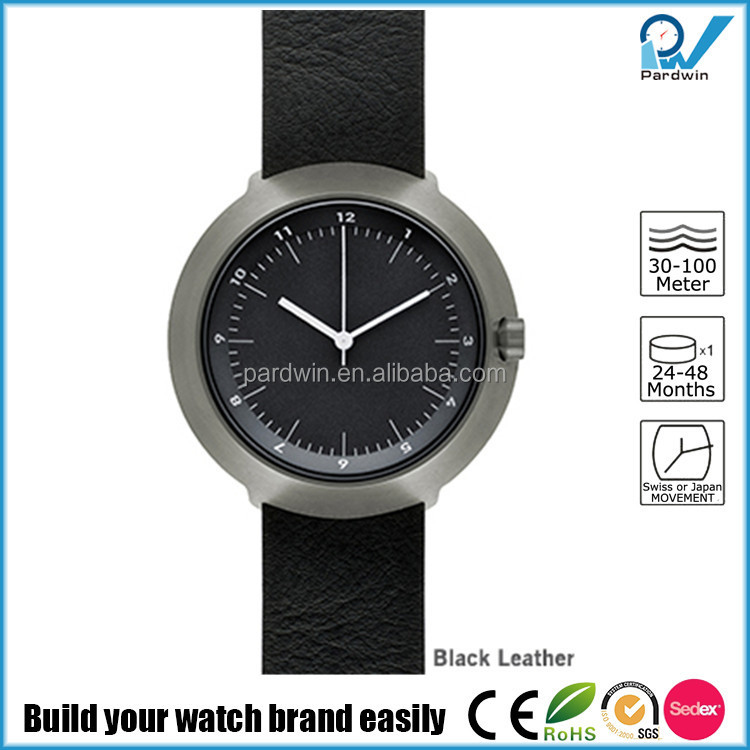 Brushed black case stainless steel Japan quartz movement 3ATM water resistant japan miyota watch