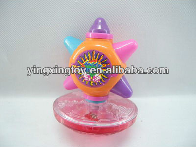Kids plastic wind up spinning top toy