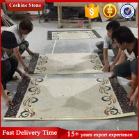 Mixed white brown marble mosaic border inlay floor tiles