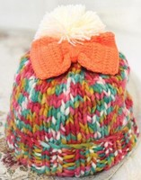 ladies acrylic knitting hats with bow