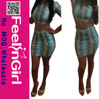 Whole Two Piece Blue Leopard Lady Short Dress