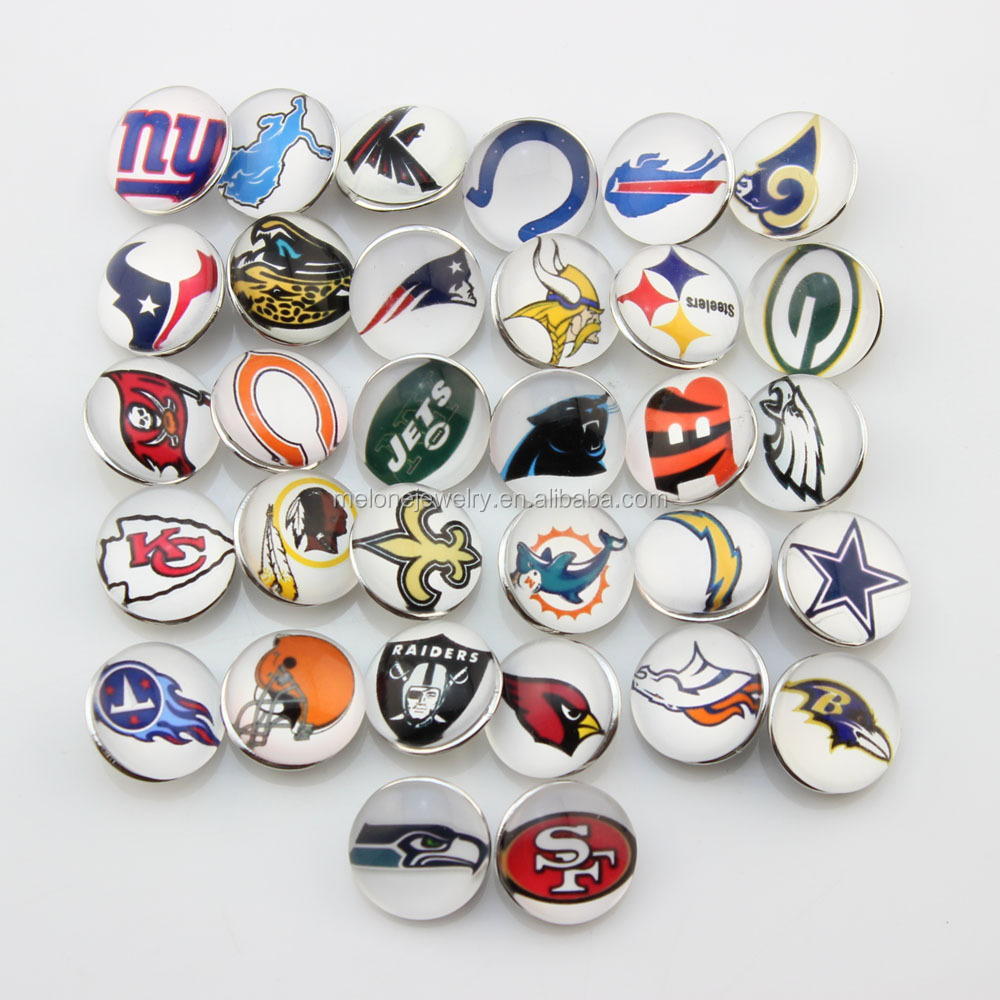 New Style 18mm Glass Snap Button Jewelry NFL Snap On Bracelet