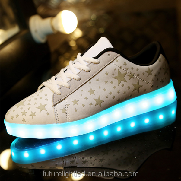 Rechargeable led causal shoes the noctilucence stars shiny led shoes