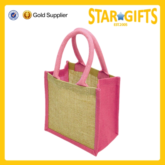 2015 Alibaba China wholesale Mini natural jute bags with cotton webbing over rope handles
