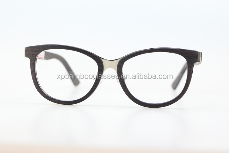 fashion italian replica branded metal bridge wood optical frame eyewear