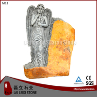 German Style Basalt Natural Stone Angel Tombstone Design