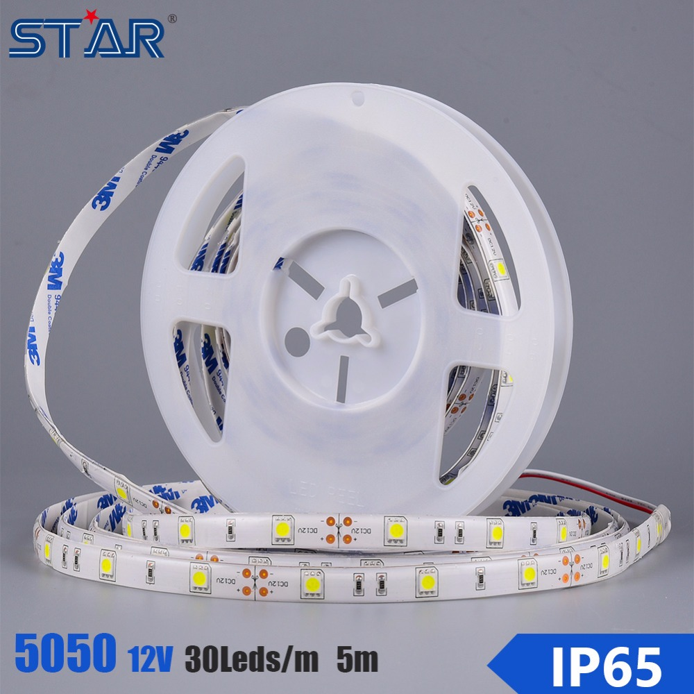 Car Auto LED Strip Light 5050 30led 150leds Waterproof IP68 flexible Light Strip DC 12V