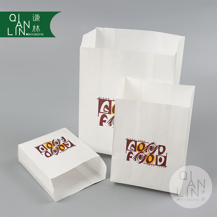Customized good food grade sharp bottom takeaway white kraft paper bag