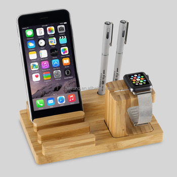 wholesale new product 2017 bamboo wooden phone holder multiple mobile phone charging holder stand for iphone ipad