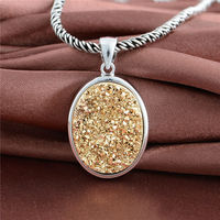Fashion Silver Oval Energy Pendants Jewelry With Tooth Stone