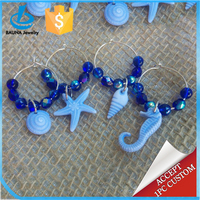 Ocean themed blue beads beach wine charm for Summer Vacation