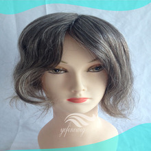 Natural Straight Human Hiar Grey Mixed Black Wigs