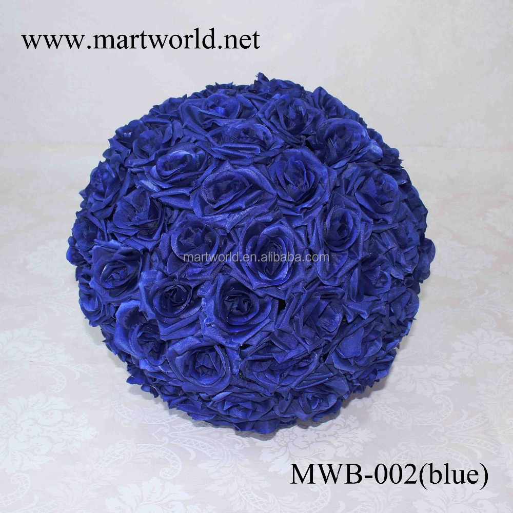 2017 Wholesale wedding artificial rose flowers ball ; blue plastic rose flowers decor for wedding table centerpiece (MWB-002)