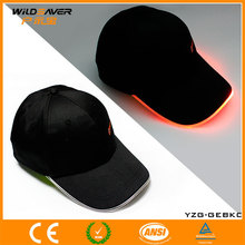 Wholesale customize cotto black flashing peaked cap with optical fiber
