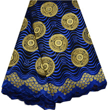 Royal blue heavy african voile lace fabric,african big swiss lace for Wedding (BG044)