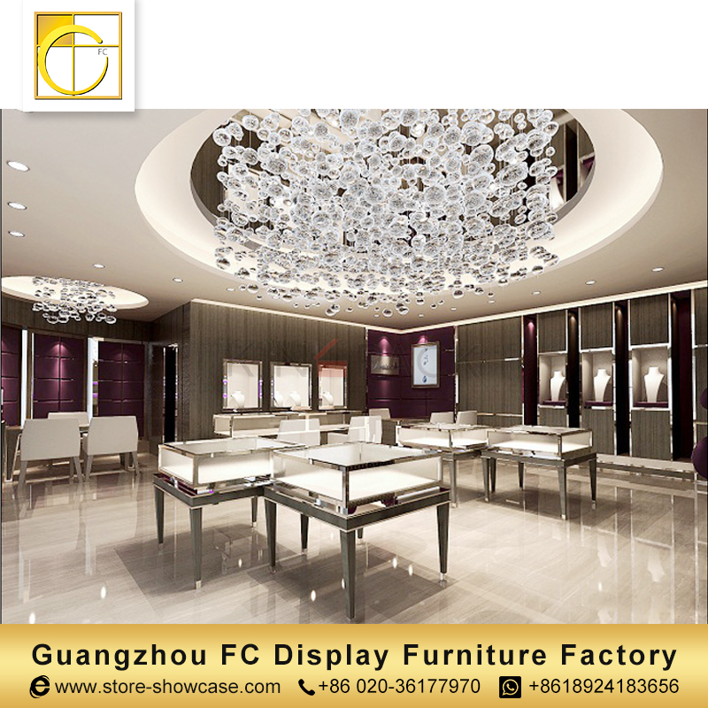 modern furniture customized display kiosk jewelry shop interior design jewellery showroom counter design