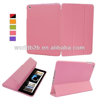 Folder Stand Leather hard Case For iPad Air,inside cover is rubberized PC case