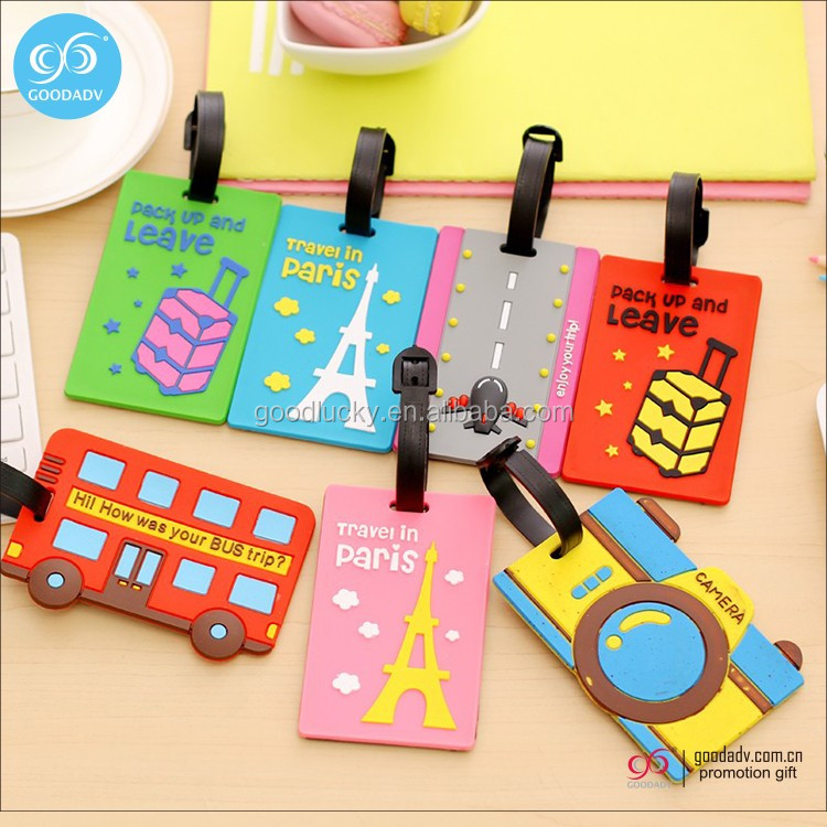 Wholesale travel luggage tag custom shape soft pvc luggage tag