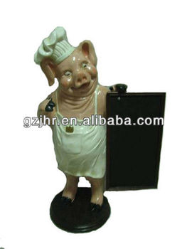 Cute Resin Pig Figure with Wooden Menu Board Craft