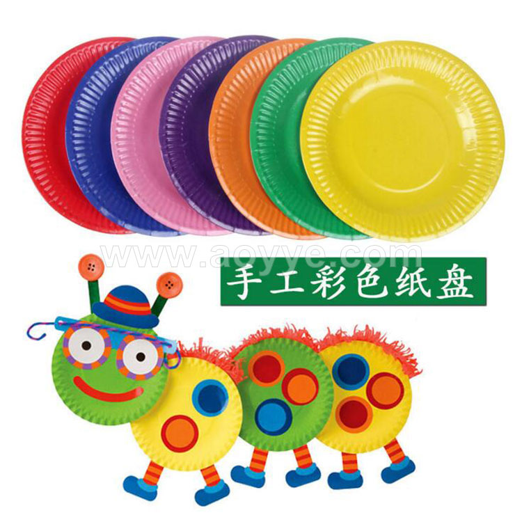 Promotional high quality 6 inches children art diy craft white color printing logo disposable cake coated paper plates
