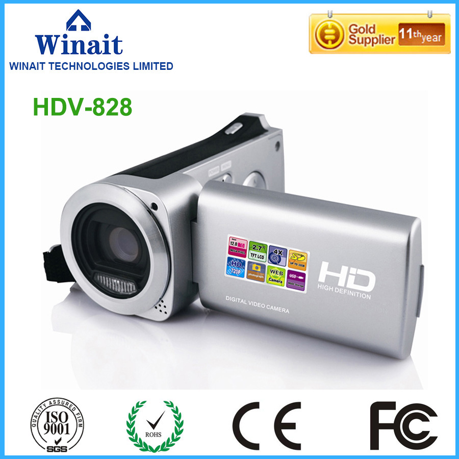 Super 18mp 4x digital zoom hdv professional camcorder 10s self-timer 720p hd digital video camera with lithium battery