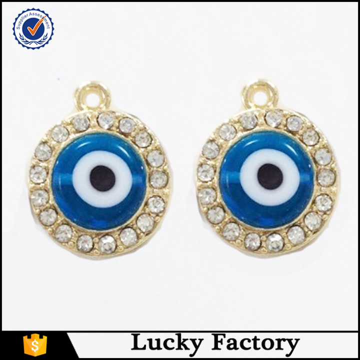 Small lovely rhodium plated wholesale resin evil eye pendant for children