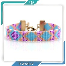 2015 Wholesale manufacturer handmade woven Multicolor pink breast cancer Beaded Friendship Bracelet