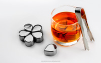 Running-drop Shape Stainless Steel Whiskey Ice Cube Stones with logo, Reusable Wine Chiller Cube, whiskey stone rocks