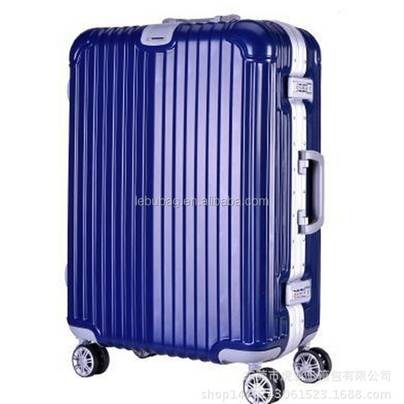 Guangzhou OEM Factory High Quality Striped PC Trolley Luggage with Metal Frame 20/24/28 Inches Available
