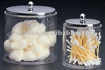 acrylic dry storage cotton swab cotton ball jars