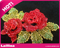 70mm Fashion Double Rose Flower with Green Leaf Pink Bud Austrian Crystal Rhinestone Brooch Pin