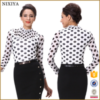 Long Sleeve Pleated Stand Collar Dot Blouse Women