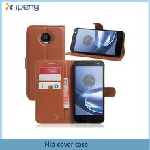 Hot selling model Wallet book stand card slots Pu leather flip cover cell phone case for moto z force