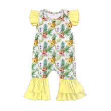 Yawoo cute pineapple print flutter sleeve toddler girls jumpsuit infant baby rompers