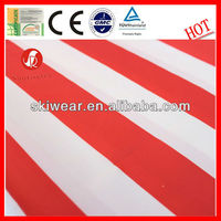 Good texture stretched red white striped fabric for garment