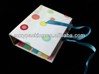 fabric cover photo album with PP pocket and fastened ribbon