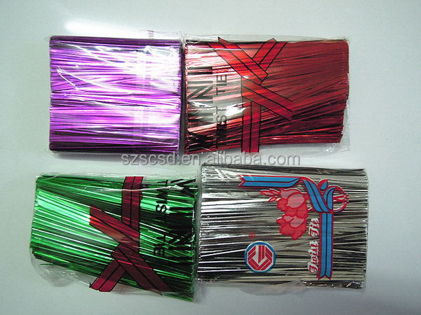 Customized Cheapest silver metallic bread bag twist tie