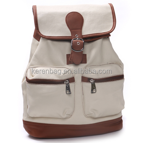 White Color Blank Canvas Backpack For Men
