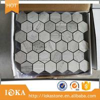 top selling natural blue wooden Hexagon marble mosaic tiles wall and floor decoration