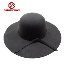 promotion cheap ladies winter black color wide brim felt women hat