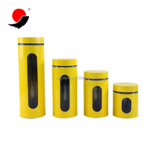 Wholesale Set of 4 Yellow Color Metal Covered Glass Food Storage Jar