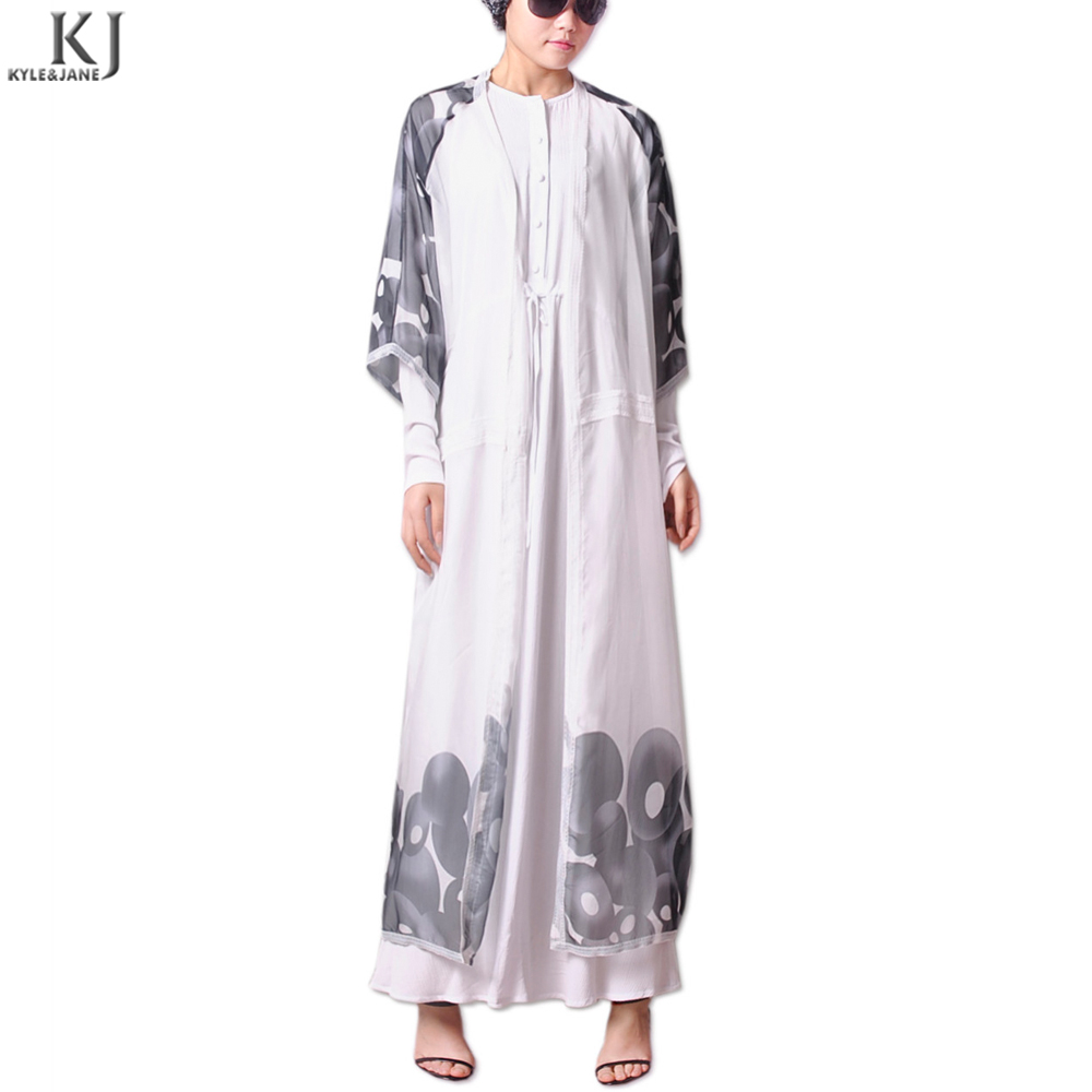 New arrival stylish chiffon fabric cheap dubai kaftan abaya kimono long cardigan print for islamic women UK Market