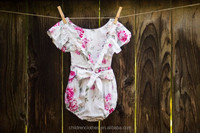 Baby fall boutique jumpsuits kids flower chinese vintage style floral sleeve romper