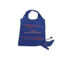Custom cheap recyclable foladable 190T polyester shopping bag with pocket
